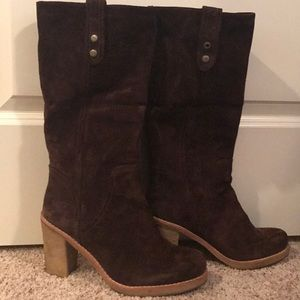 Ugg, suede leather, brown, heeled boot.